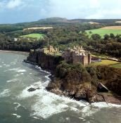 Aerial of Castle from Sea Hi Res